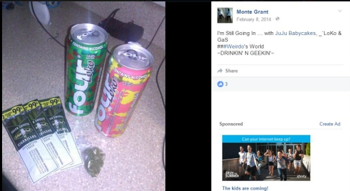 Monte Grant gets drunk and high (facebook)